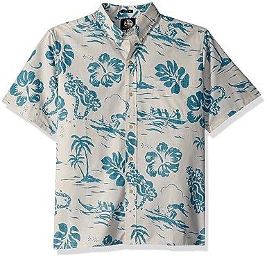 81221def Reyn Spooner Men's Quiet Lagoon Spooner Kloth Classic Fit Hawaiian Shirt,  Natural, ...