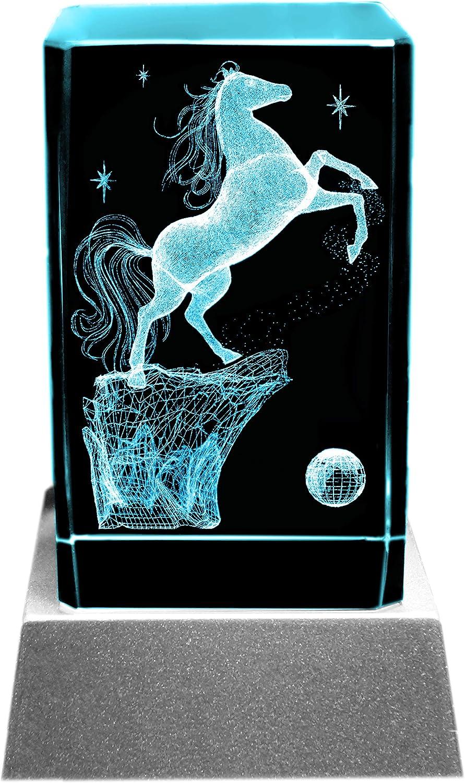 Luz ambiental Kaltner Präsente, el regalo prefecto: vela LED, bloque de cristal, caballo grabado con láser en 3D