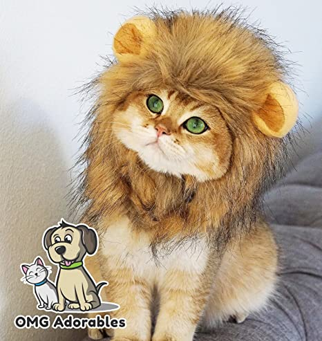 OMG Adorables Traje Melena de león para Gatos Suave,Peludo Peluca ...
