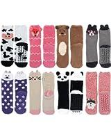 Super Soft Warm Cute Furry Animal Non-Slip Fuzzy Cozy Crew Winter Socks, Value Pack