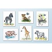 Painted Baby Safari Animals Art Prints. Home/Nursery Decor (8 x10 , (6) Set of Six)
