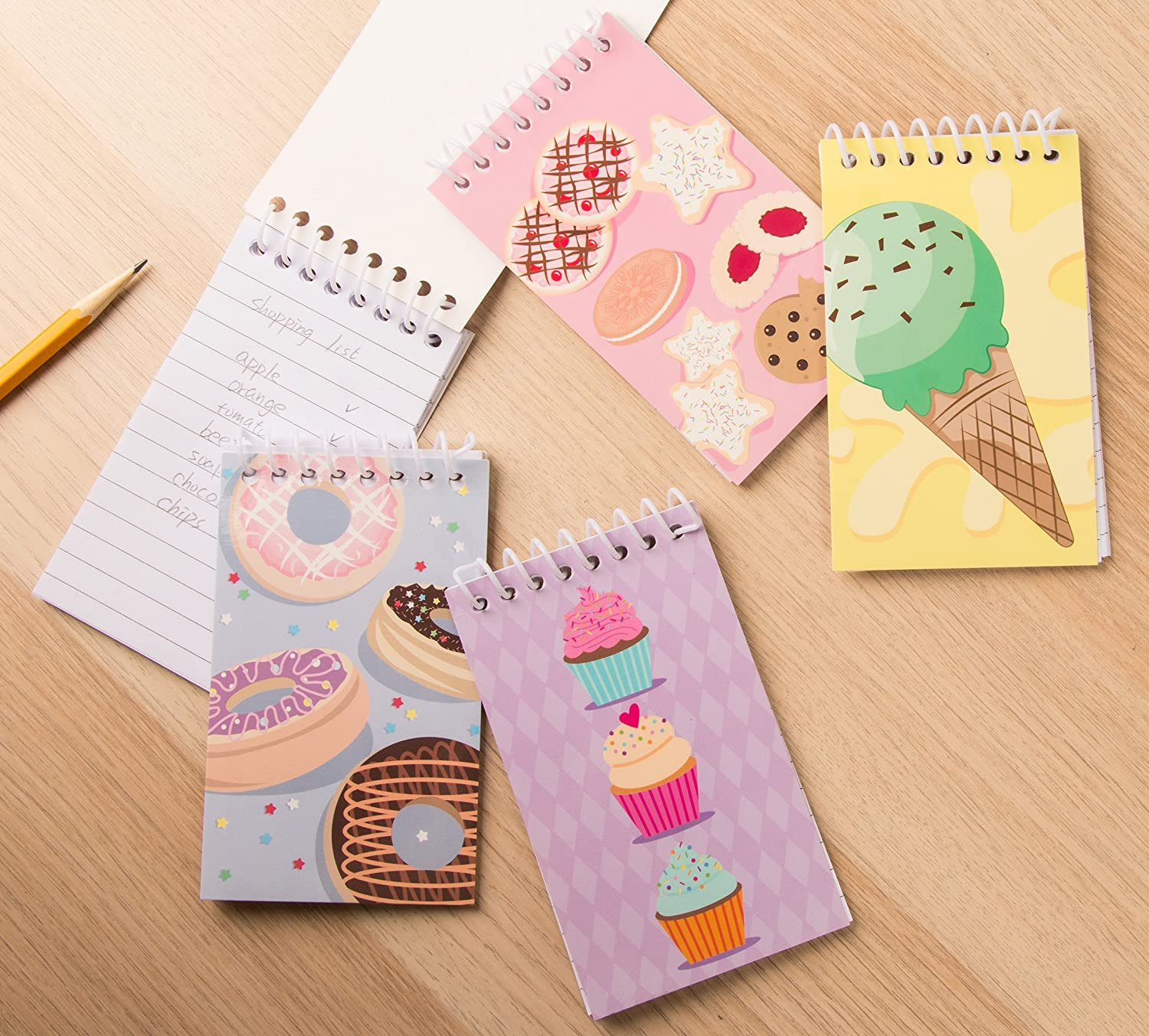 3 x 5 Inches, 24-Pack Spiral Notepads with Dessert Design