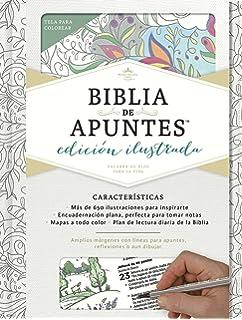 RVR 1960 Biblia de apuntes, edición ilustrada, blanco en tela para colorear (Spanish