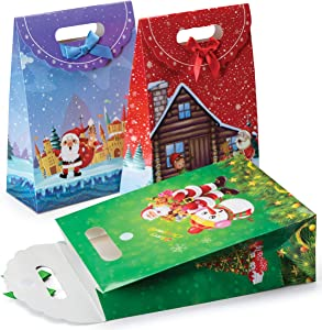 Christmas Themed Gift Bags - 12 Pack Large Fold Over Christmas Bags for Gifts, Holiday Favors and Christmas Goodies