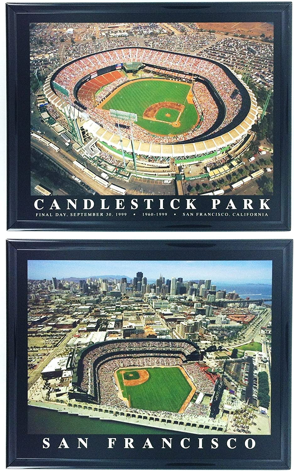 Framed San Francisco Giants Aerial Candlestick (Final Game) and AT&T Park Stadium Prints (Set of 2)