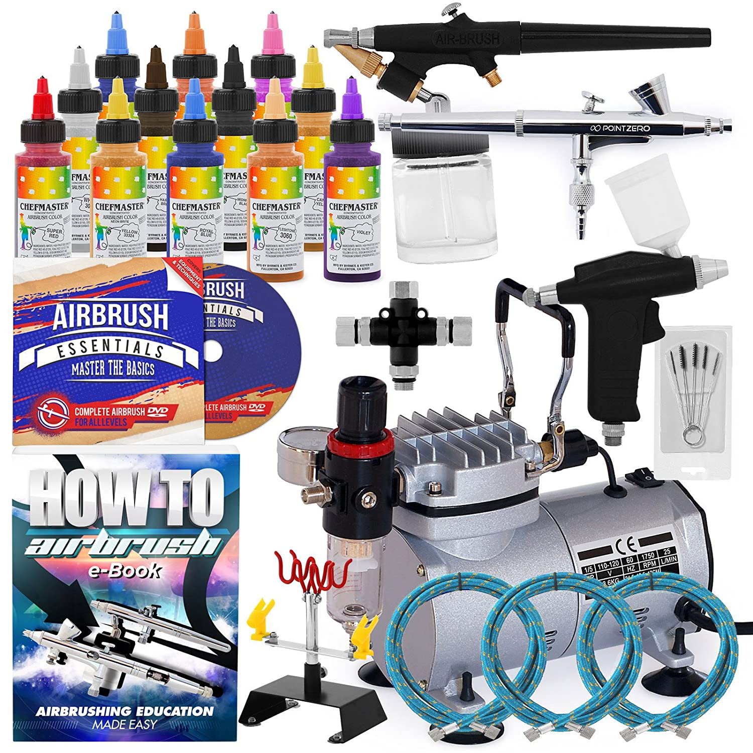 PointZero Cake Airbrush Decorating Kit - 3 Airbrushes, Stand, Compressor, and 12 Chefmaster Colors PointZero Airbrush