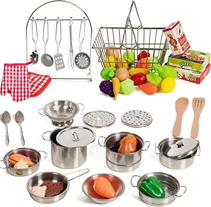Amazon Com Iq Toys 50 Piece Complete Pretend Play Food And Kitchen Set Complete With Supermarket Shopping Basket Toy Cooking Pots Pans And Utensils Kitchen Play Food And Accessories Toys Games