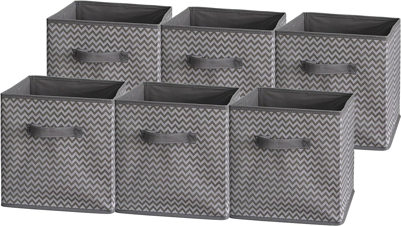 Sodynee Foldable Cloth Storage Cube Basket Bins Organizer Containers Drawers, 6 Pack, Grey Zig Zag Strip