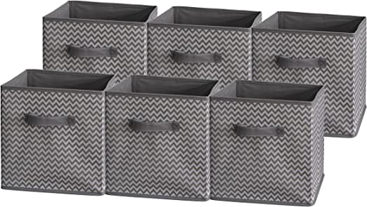 6 Pack Foldable Cloth Storage Cube Basket Bins Organizer