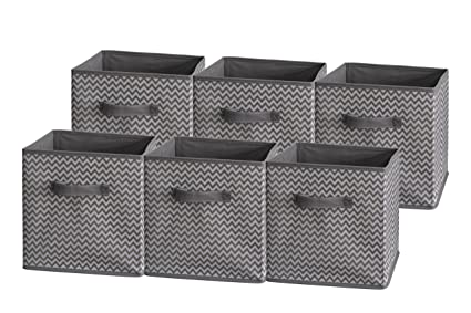 Delicieux Sodynee Foldable Cloth Storage Cube Basket Bins Organizer Containers  Drawers, 6 Pack, Grey Zig