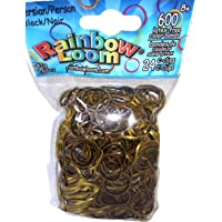 Rainbow Loom Persian Black Rubber Bands with C Clips, Multi Color