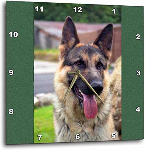 3dRose DPP_1222_2 German Shepherd Portrait Wall Clock