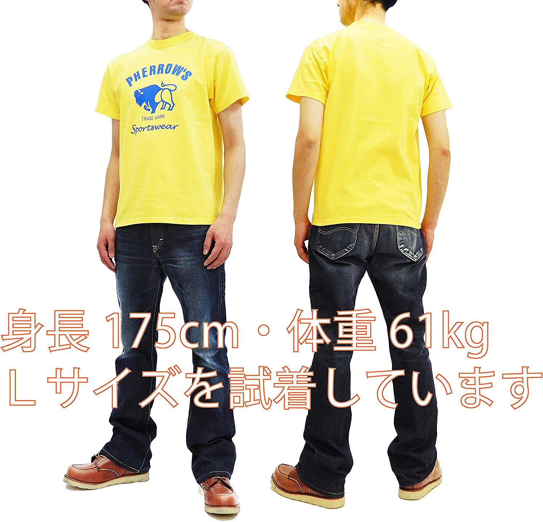 Pherrows Mens Slim Fit Short Sleeve T-Shirt Buffalo Logo Tee PT2 19S-PT2