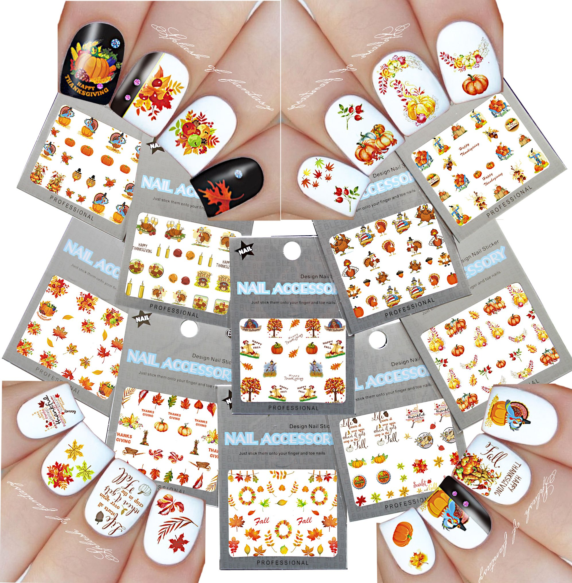 Nail Art Water Slide Tattoo Decals ♥ Fall Into Fun Thanksgiving Theme - 10 Pack by La Demoiselle