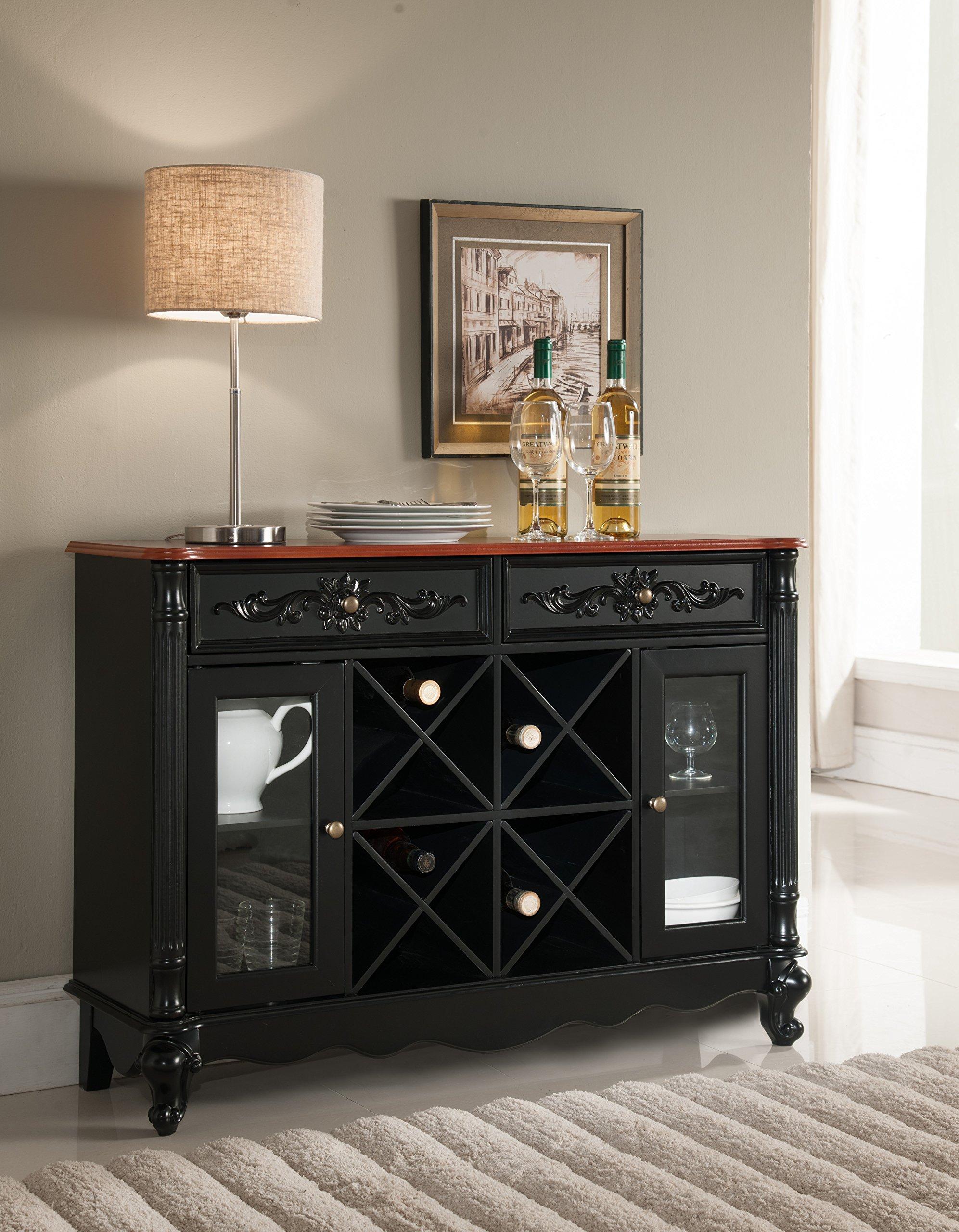 Kings Brand Buffet Server Wine Cabinet Console Table, Black/Walnut
