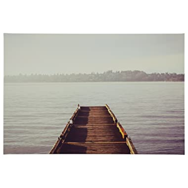 Rivet Wooden Dock at The Lake Canvas Print, 36  x 24