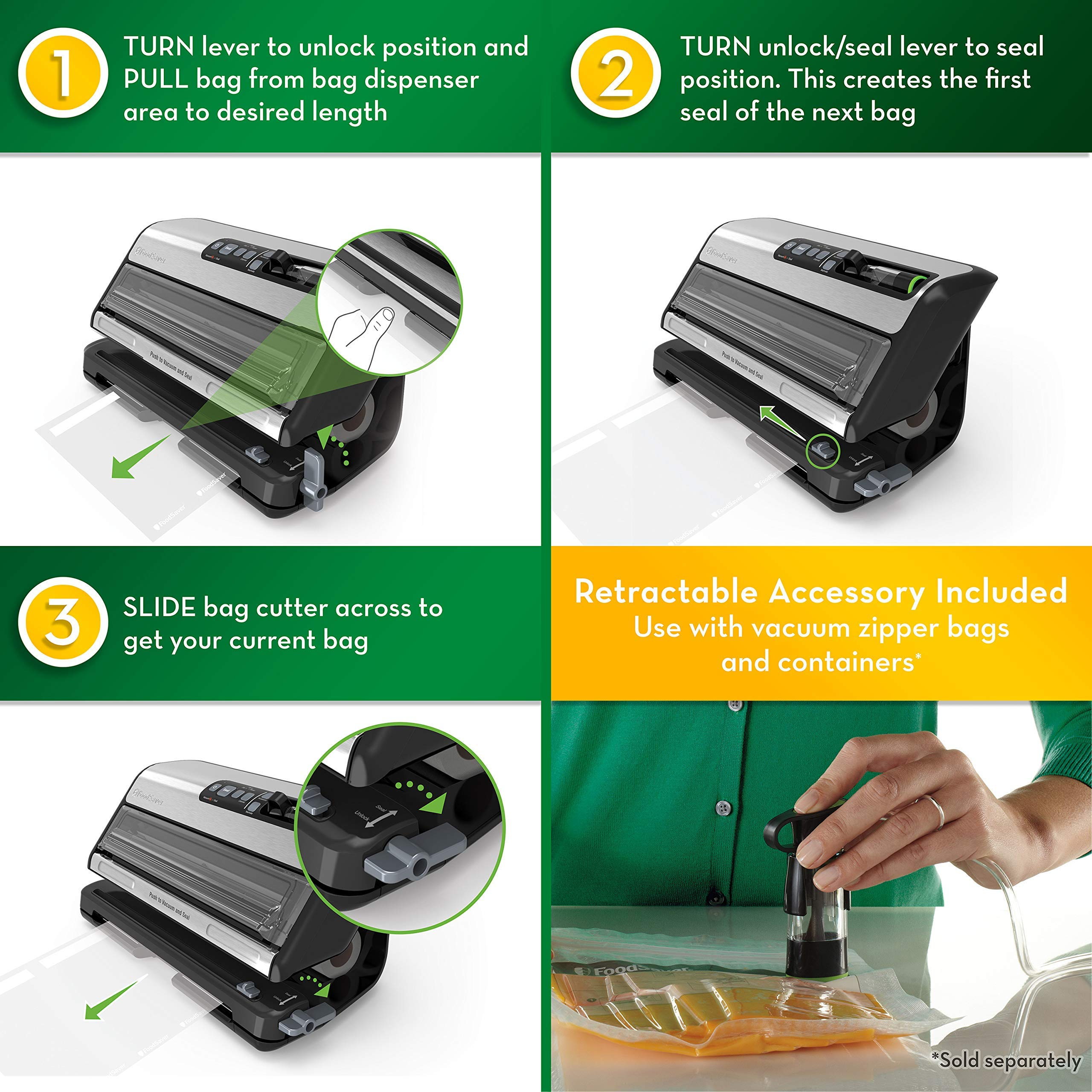 Silver Safety Certified FoodSaver FM5200 2-in-1 Automatic Vacuum Sealer Machine with Express Bag Maker