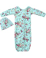 PoshPeanut Newborn Girl's Floral Infant Gown Layette Set with Beanie Turquoise
