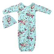 PoshPeanut Infant Baby Gown Set Newborn Girl's Floral Cotton Layette with Beanie Turquoise