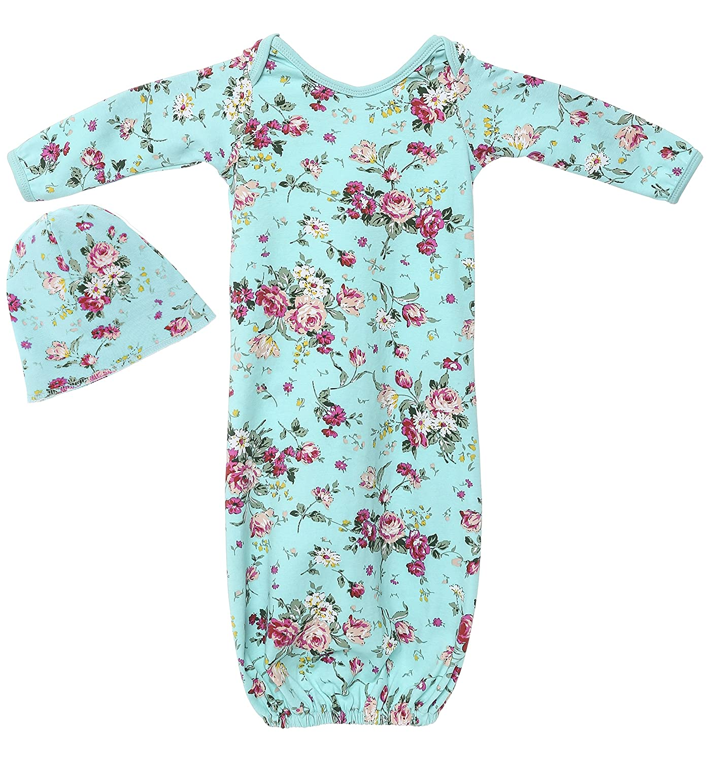 PoshPeanut Infant Baby Gown Set Newborn Girl's Floral Cotton Layette with Beanie Turquoise Posh Peanut