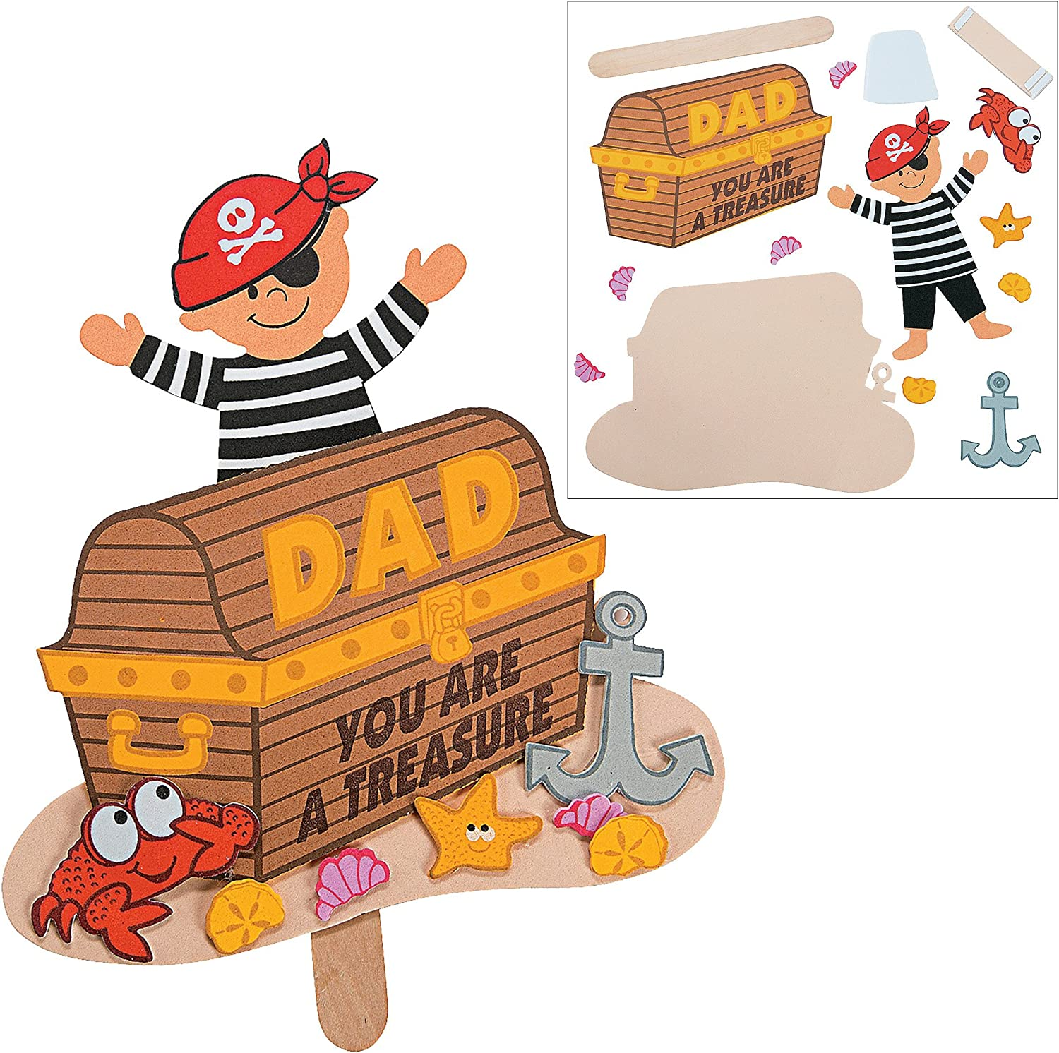 """Super Dad Sticker Cards Fathers Day DIY Craft Kit Boy /& Girls Gift Dads Picture Photo Frame Magnet Kit and Color Your Own /""""All About My Dad/"""" Wheels DIY /""""Dad/"""" Keychains Pirate Pop-Up Craft"""