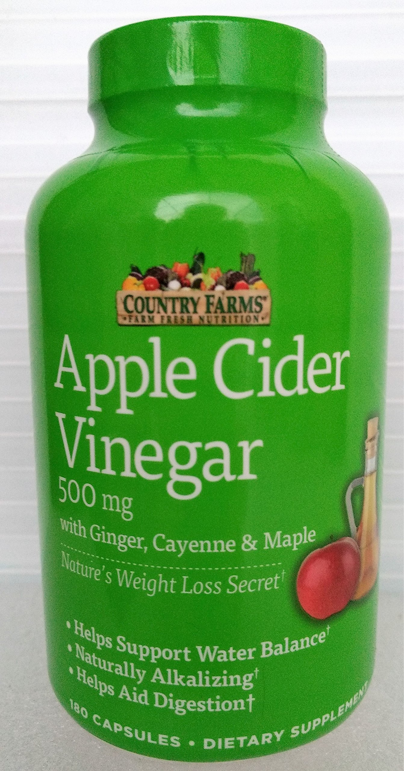 Country Farms Apple Cider Vinegar 500mg 180 capsules with Ginger, Cayenne and Maple by Country Farms (Image #1)