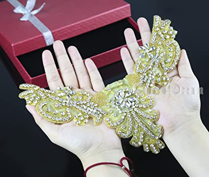Amazon.com  Gold Applique Rhinestone Wedding Applique Vintage Bridal ... 53453347195a