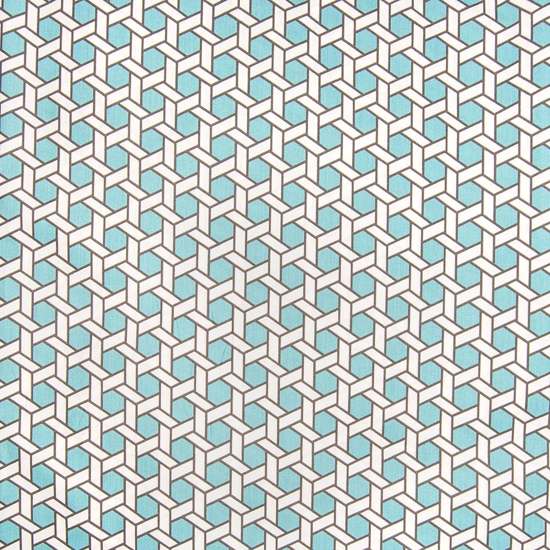 Amazon Com Pool Teal Blue Geometric Lattice Chintz Print Made In