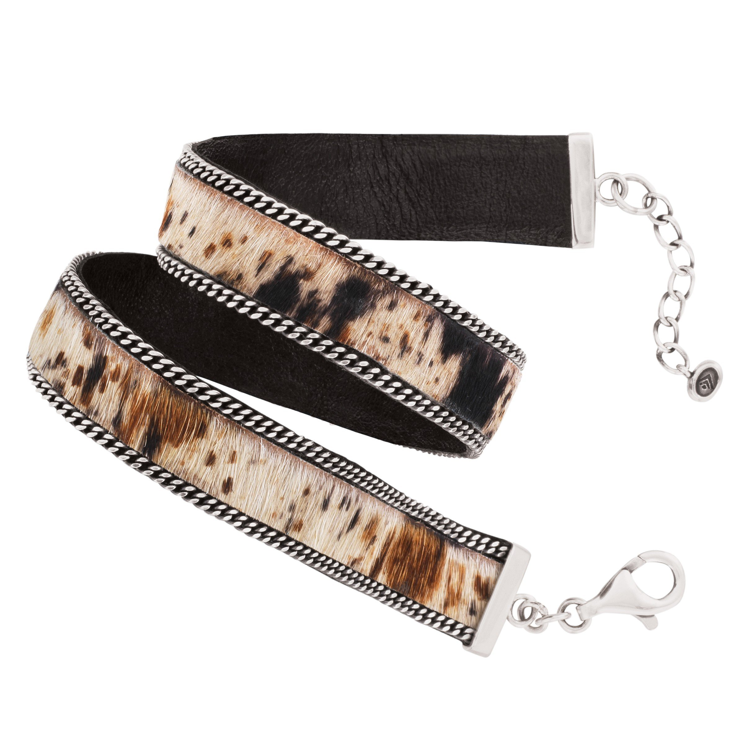 Silpada 'Mountainside' Sterling Silver, Cowhide, and Genuine Leather Wrap Chain Bracelet, 13.5+1'' Extender by Silpada