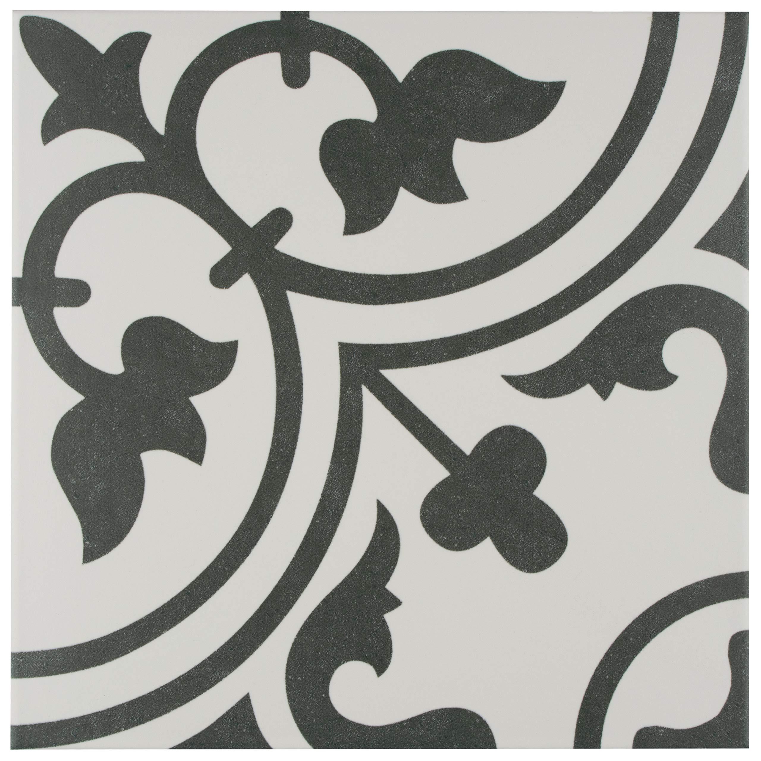 SomerTile FCD10ARW Burlesque Porcelain Floor and Wall Tile, 9.75'' x 9.75'', Black/Grey/White