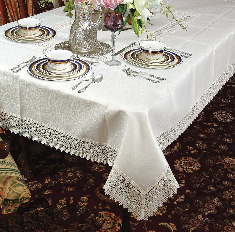 Amazon Violet Linen Treasure Lace Oblong Rectangle Tablecloth