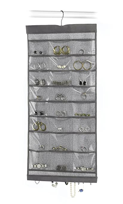 Amazoncom Whitmor Hanging Jewelry Organizer File Crosshatch Gray