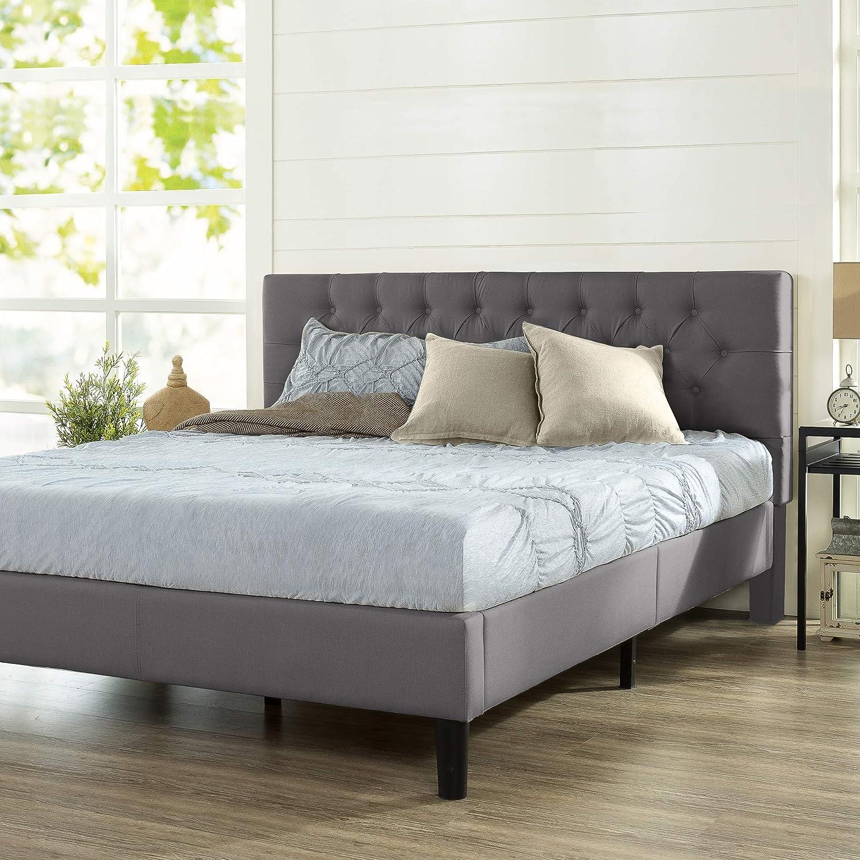 ZINUS Misty Upholstered Platform Bed Frame / Mattress Foundation / Wood Slat Support / No Box Spring Needed / Easy Assembly, Charcoal Grey, King