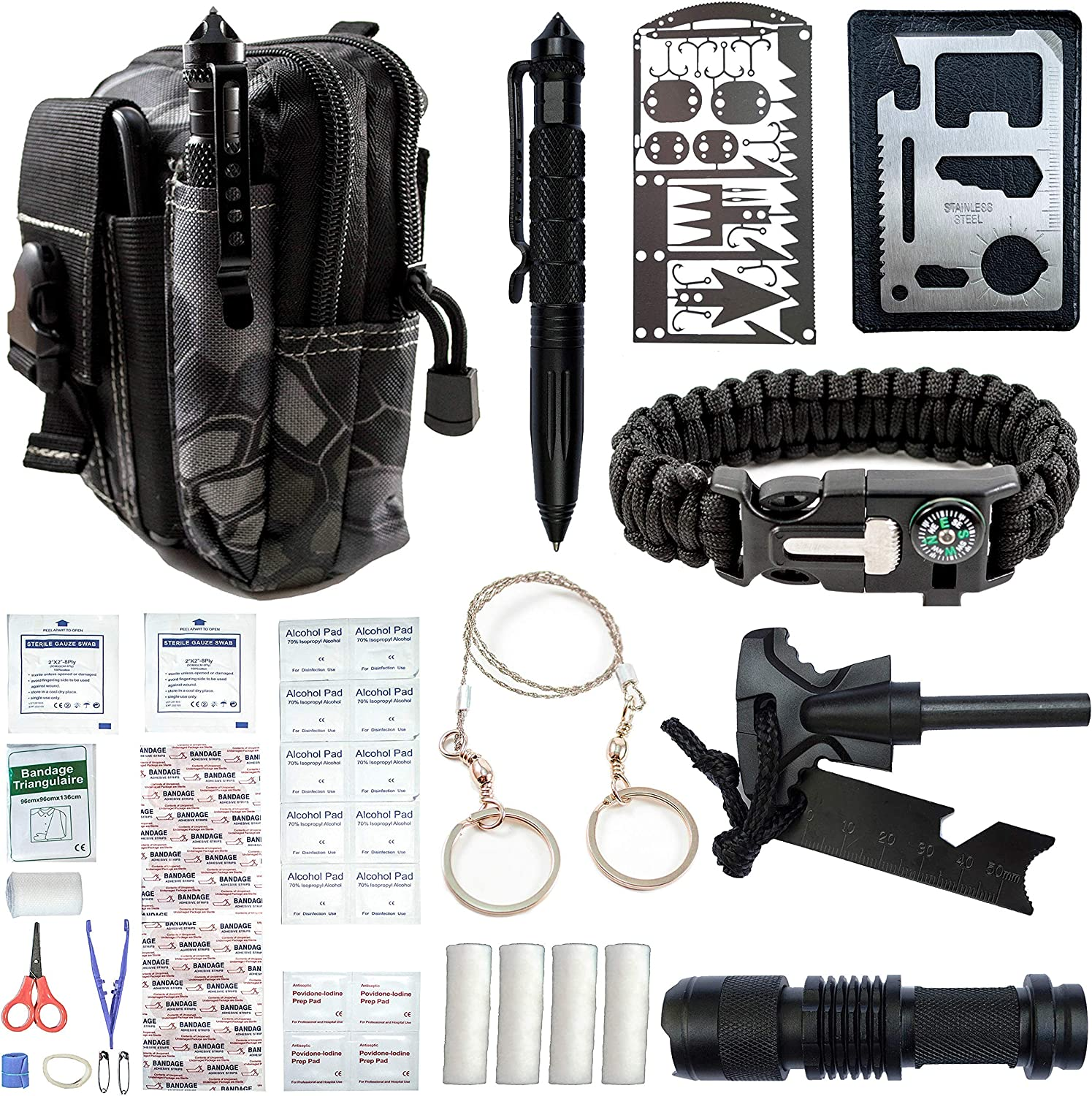 65 In 1 Outdoor Camping Emergency Survival Gear EDC Tactical Hunting Molle Pouch