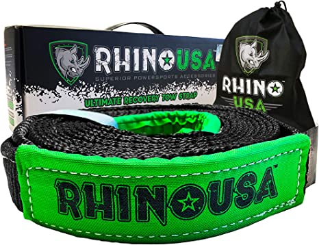 Lab Tested 31,518lb Break Strength RHINO USA COMBO Recovery Tow Strap Triple Reinforced Loop End to Ensure Peace of Mind 30ft /& Shackle Hitch Receiver Heavy Duty Draw String bag Included