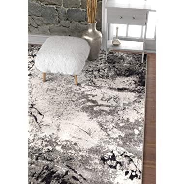 Well Woven Splash Grey & Beige Modern Abstract Geometric Paint Brush Stroke 4x6 (3'11  x 5'7 ) Area Rug Neutral Vintage Thick Soft Plush Shed Free