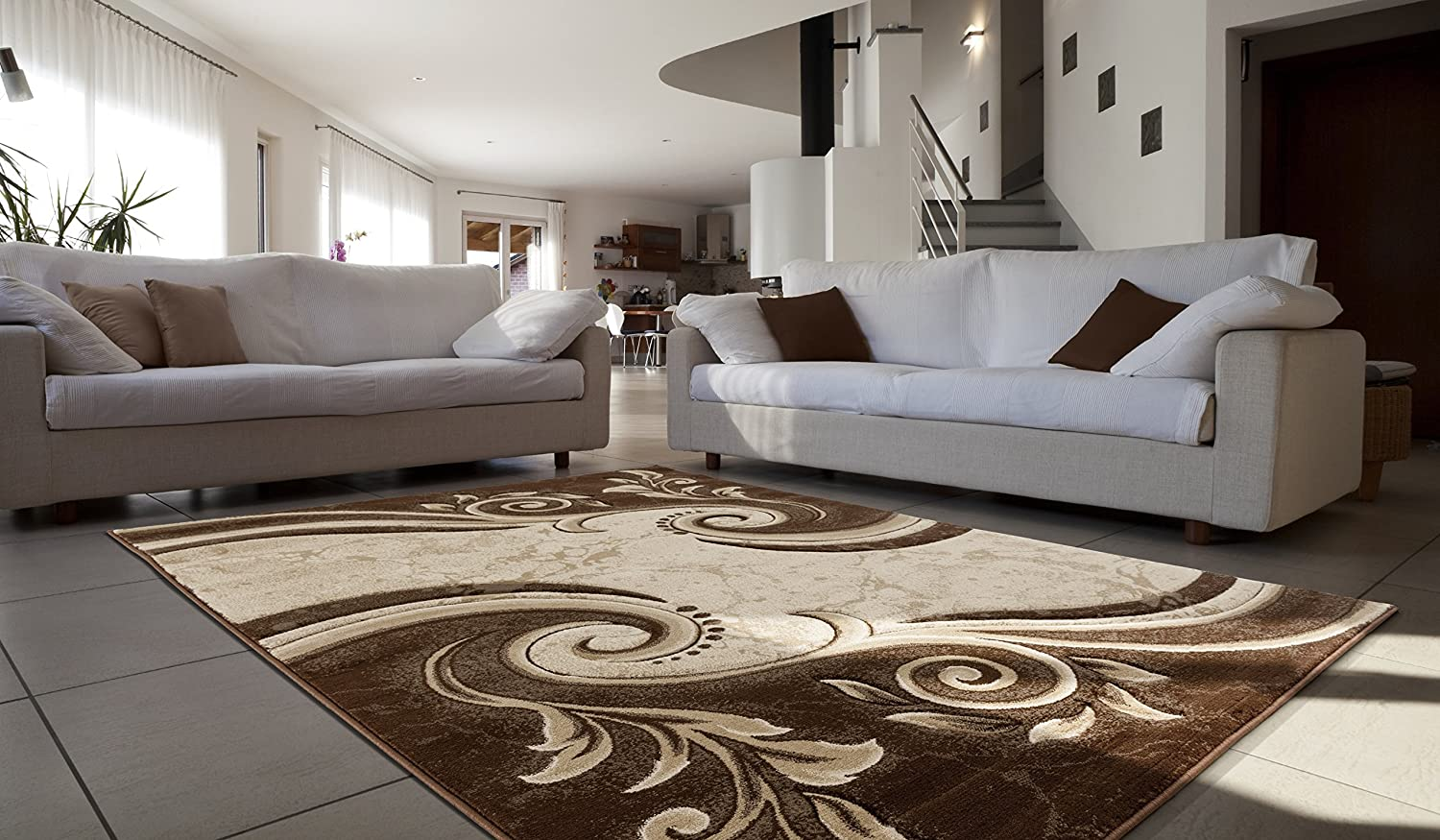Contemporary Carved Modern Swirl with Floral Design Area Rug Legacy Collection (5' x 7', Brown/Beige) Rug Deal Plus