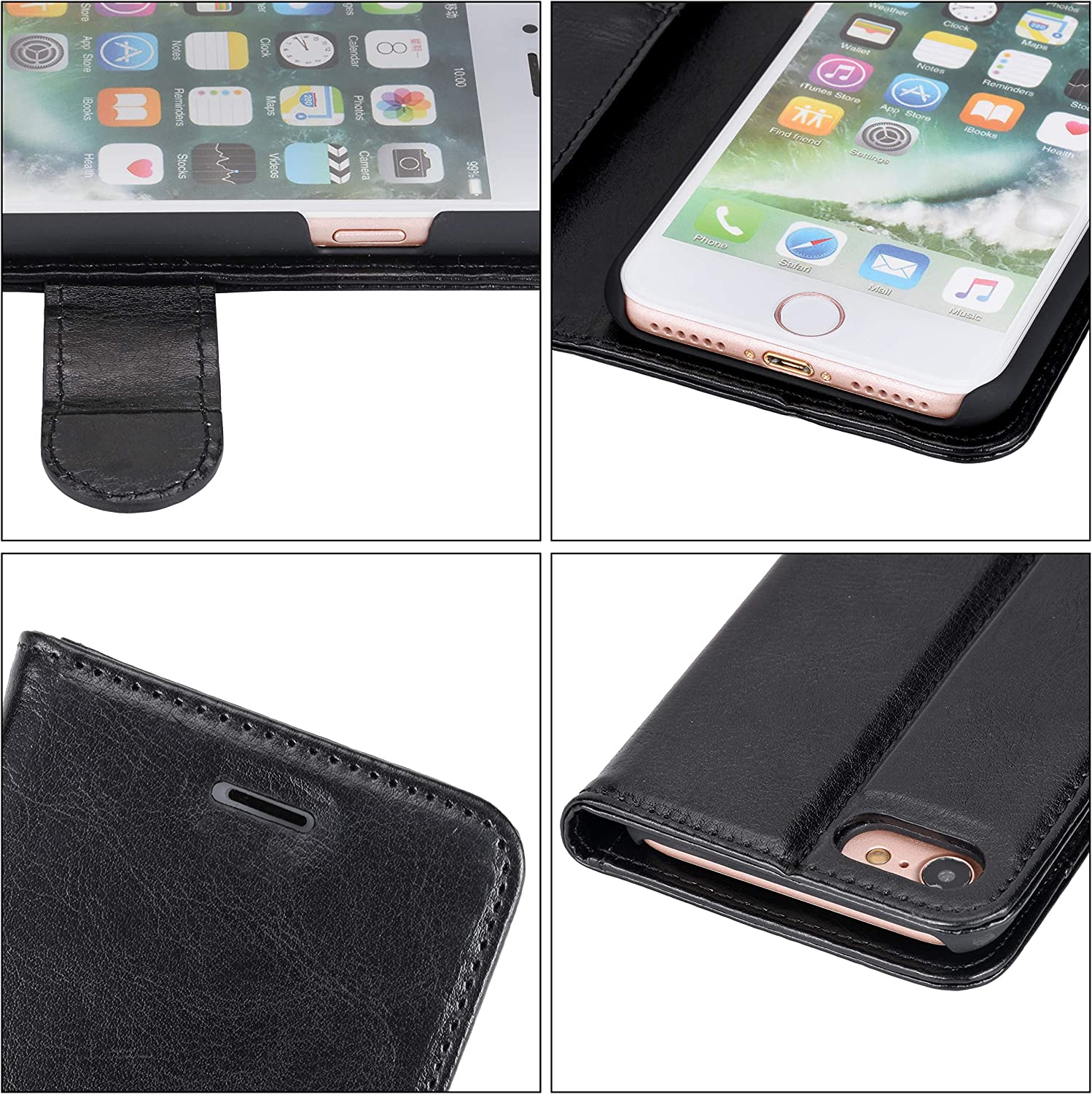 iPhone 5s Case 5 Black iPhone SE Case Wisdompro Premium PU Leather 2-in-1 Protective Wallet Phone Case Folio Flip Cover with Kickstand and Credit Card Holder Slots for Apple iPhone SE 5s