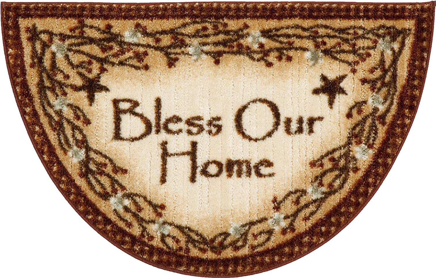 """Bless Our Home Berry Blossoms Kitchen Decor Rug, Deep Red - 19"""" x 31"""""""