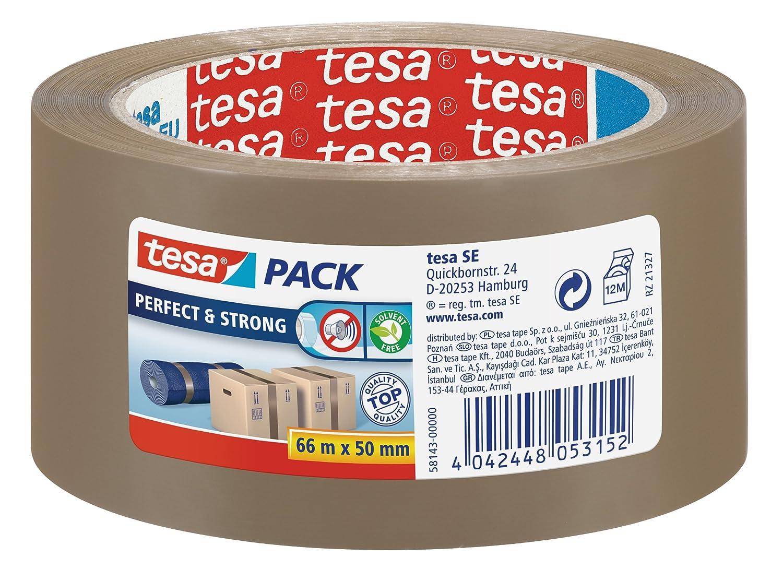 Tesa 58142-00000-00 Tesapack Perfect & Strong Nastro da Imballo Adesivo, Trasparente