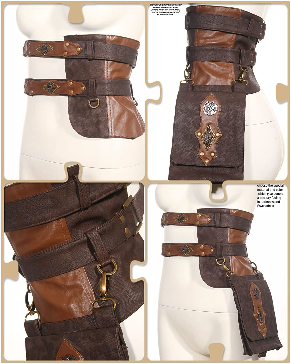 Steampunk Accessories | Goggles, Gears, Glasses, Guns, Mask Steampunk Cosplay Steam Punk Clothing Leather Utility Belt Girls Messenger Bags $52.22 AT vintagedancer.com