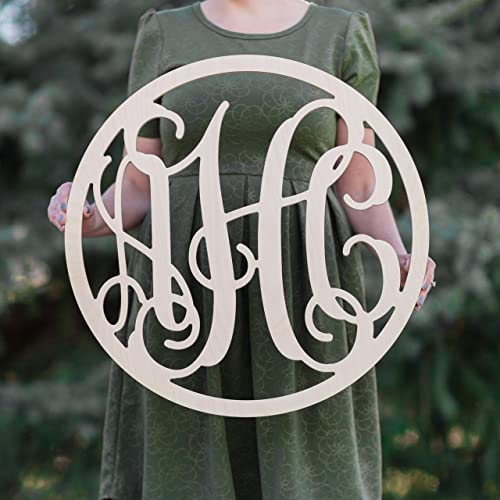 Sale 12 36 Inch Circle Wooden Monogram Letters Vine Room Decor Nursery Decor Wooden Monogram Wall Art Large Wood Monogram Wall Hanging Wood Large