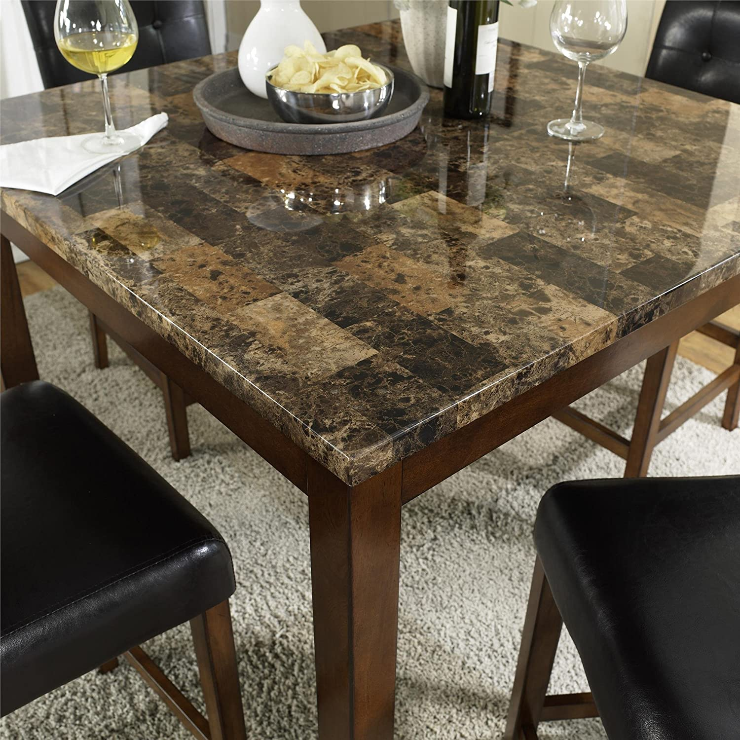 Amazon.com: Dorel Living Andover Faux Marble Counter Height Dining Set,  Brown: Kitchen U0026 Dining