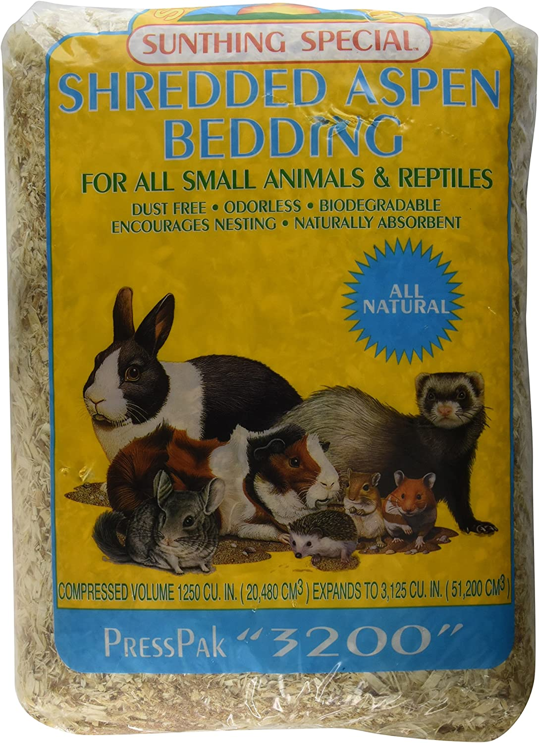 Sun Seed Company SSS18073 Shredded Aspen Press Pack Small Animal Bedding, 3200 Cubic Inch, Pack of 4