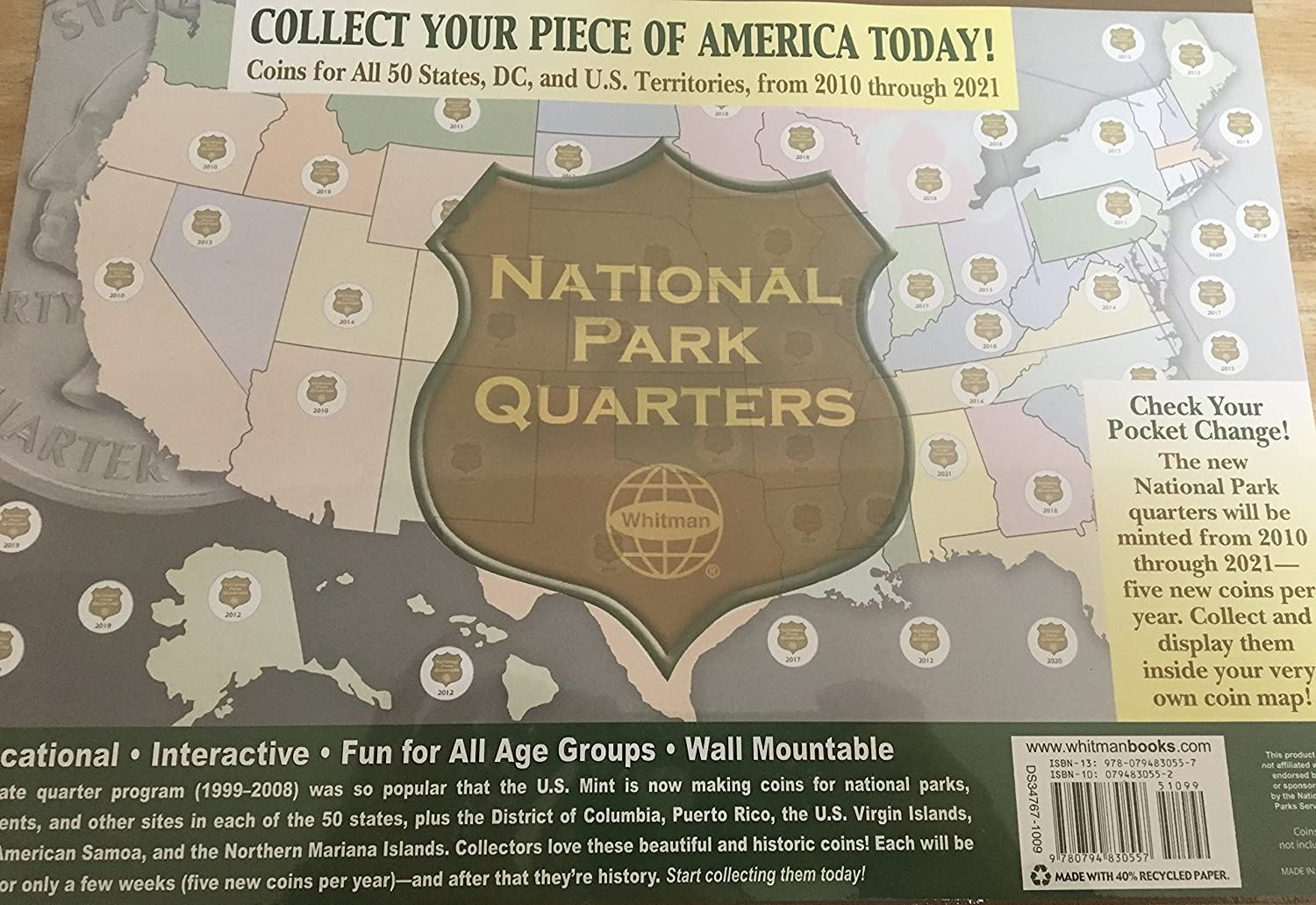 P National Park Quarters FREE GOLD COIN Includes Collectors - Us national park quarters book