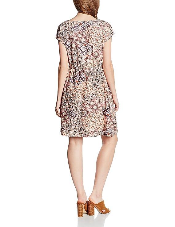 EDC by Esprit Mit Spitzendetails - Vestido Mujer, color Marrón (CAMEL 230), talla 36 (Talla del fabricante S)