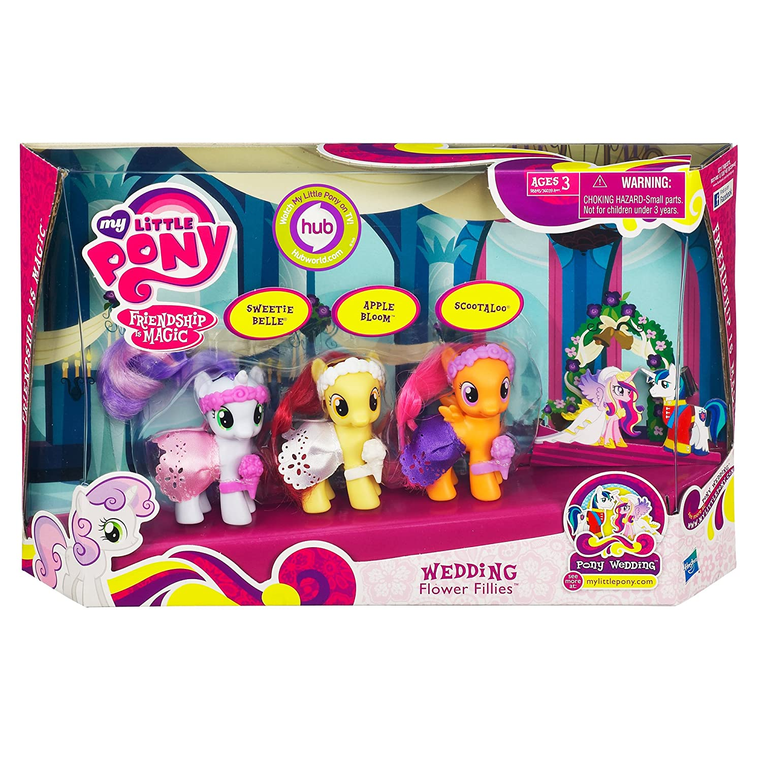 Amazon com my little pony wedding flower fillies set sweetie belle apple bloom and scootaloo 3 pack toys games