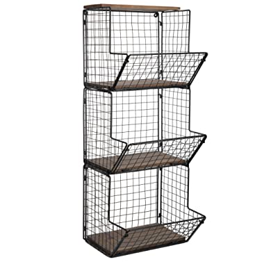 MyGift 3-Tier Black Metal Wire Wall-Mounted Produce Baskets & Storage Bins