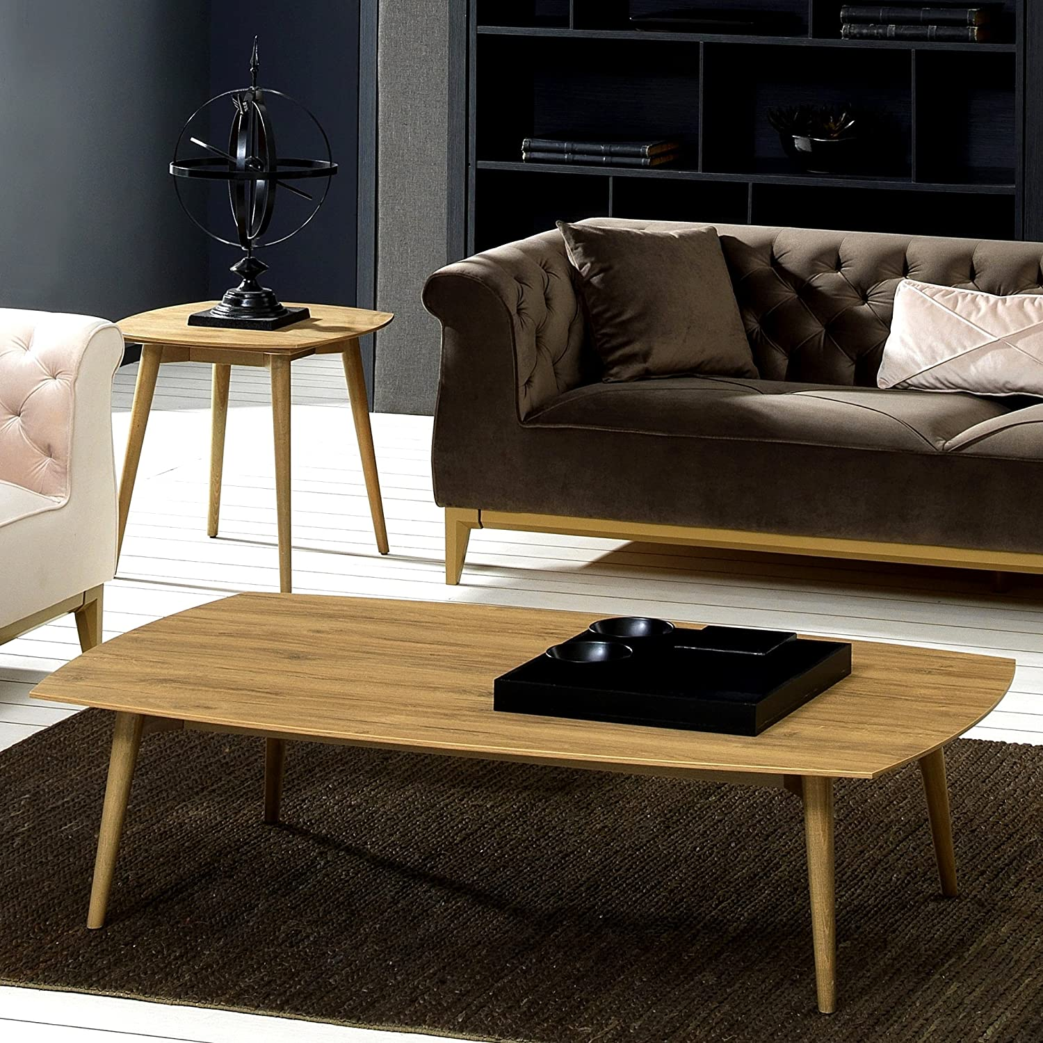 AZUMAYA BLT-229OAK Folding Legs Coffee Center Table Home and Living W41.3 x D20.5 x H13.8 Inches Natural Yellow Oak Color Natural Yellow Oak and Rubber Wood Material