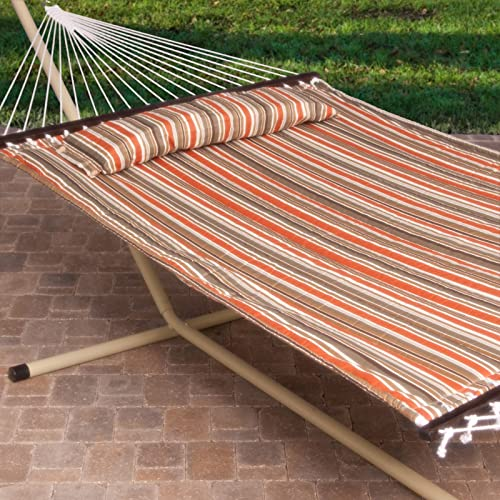 2 Person Free Standing Hammock, 13 Ft. Sienna Stripe Quilted Hammock with Steel Stand Pillow